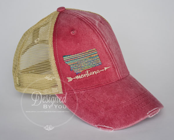 Love Your State Trucker Style Distressed Hat View 3